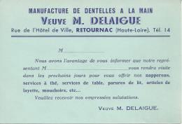 43 RETOURNAC PUBLICITE MANUFACTURE DENTELLE DELAIGUE HAUTE LOIRE - Retournac