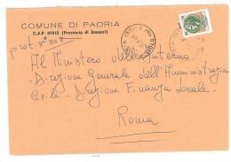 PADRIA  07015  PROV. SASSARI - ANNO 1980 - LS -  TEMA TOPIC COMUNI D´ITALIA - STORIA POSTALE - Affrancature Meccaniche Rosse (EMA)