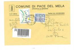 PACE DEL MELA  98042  PROV. MESSINA - ANNO 2001 -  R -  TEMA TOPIC COMUNI D´ITALIA - STORIA POSTALE - Marcofilie - EMA (Print Machine)