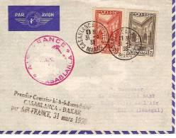 MAROC-PREMIER COURRIER BI-HEBDOMADAIRE CASABLANCA DAKAR ( SENEGAL) PAR AIR-FRANCE 1938 - Maroc (1956-...)