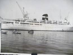 GRANDE PHOTOGRAPHIE : LE PAQUEBOT KAIROUAN DE MARSEILLE PORT BATEAU - Barcos