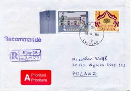 Latvia 1998 Registered Cover From Riga To Poland Multifranked With Arsenal Of Riga And 80th Anniversary Independence - Lettland