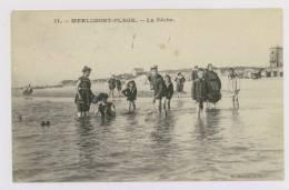 MERLIMONT PLAGE : La Pêche - Enfants Sur La Plage *f6043 - France