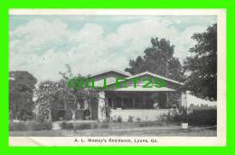LYONS, GA - A. L. MOSLEY'S RESIDENCE - TRAVEL IN 1927 - AUBURN POST CARD MANU. CO - - United States