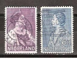 NVPH Nederland Netherlands Pays 265-266 Used ; Koningin Queen Reine Reina Wilhelmina Prinses Princess Princesse Juliana - 1891-1948 (Wilhelmine)