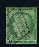 France: Yv/Mi/M Nr 2, 1850, Oblitéré / Cancelled, Grille, Vert Jaune