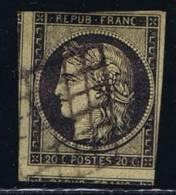 France: Yv/Mi/M Nr 3, 1849, Oblitéré / Cancelled, Grille, Noir Sur Chamis CV€ 200 - 1849-1850 Ceres