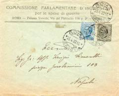 1922 LETTERA INTESTATA  COMMISSIONE PARLAMENTARE D' INCHIESTA  PER LE SPESE DI GUERA  CON ANNULLO ROMA - Marcophilia