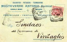 19047 CARTOLINA INTESTATA CON ANNULLO CASALE MONFERRATO ALESSANDRIA - 1900-44 Vittorio Emanuele III