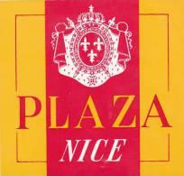 FRANCE NICE PLAZA HOTEL VINTAGE LUGGAGE LABEL - Hotel Labels