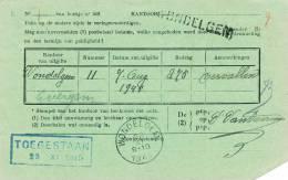 895/19 -  Carte De Service De La Poste TP SCeau Etat - Cachet Et Griffe Linéaire WONDELGEM 1945 - Poststempel