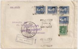 España 1939. Canarias. Correo Aereo De Las Palmas A Genova Via Irun. Censura. - Marcas De Censura Nacional