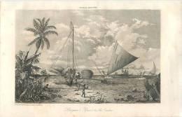 : Réf :GR-12-0118  : Pirogues Praos Des Iles Carolines     : Gravure Au Format 19 Cm X 27.5 Cm - Postcards
