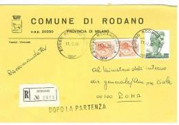 RODANO  20090  PROV. MILANO - ANNO 1980  - R  -  TEMA TOPIC COMUNI D´ITALIA - STORIA POSTALE - Affrancature Meccaniche Rosse (EMA)