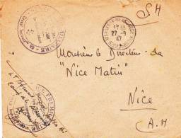 1947 - MARSEILLE - ENVELOPPE FM Du SERVICE PREMILITAIRE SECTION CADRE AIR - CROIX DE LORRAINE - Marcophilie (Lettres)