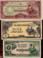 Burma - The Japanese Government - Lot De 3 Billets - Billets