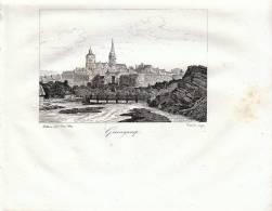 Vue De Guingamp Gravée Par Dessault D´après Buttura  1835 - FRANCO DE PORT - Estampes & Gravures