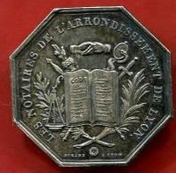 JETON OCTOGONAL EN ARGENT NOTAIRES DE L´ARRONDISSEMENT DE LYON 1839 - Jetons & Médailles