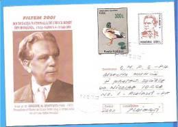 Gregory Benetato Red Cross President Of Cluj. + Stamp Overprint Mushrooms ROMANIA Postal Stationery Cover 2001 - Rotes Kreuz