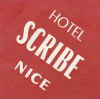 FRANCE NICE HOTEL SCRIBE VINTAGE LUGGAGE LABEL - Hotel Labels
