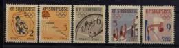 ALBANIE 1964, BOXE, BASKET, ATHLETISME, CYCLISME, GYMNASTIQUE, 5 Valeurs, Neufs. R067 - Summer 1964: Tokyo