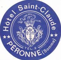 FRANCE PERONNE HOTEL SAINT CLAUD VINTAGE LUGGAGE LABEL - Hotel Labels
