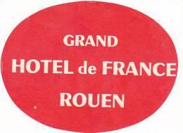 FRANCE ROUEN GRAND HOTEL DE FRANCE VINTAGE LUGGAGE LABEL - Hotel Labels
