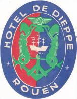 FRANCE ROUEN HOTEL DE DIEPPE VINTAGE LUGGAGE LABEL - Hotel Labels