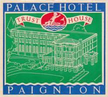 ENGLAND PAIGNTON PALACE HOTEL VINTAGE LUGGAGE LABEL