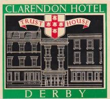 ENGLAND DERBY CLARENDON HOTEL VINTAGE LUGGAGE LABEL