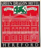 ENGLAND HEREFORD GREEN DRAGON HOTEL VINTAGE LUGGAGE LABEL