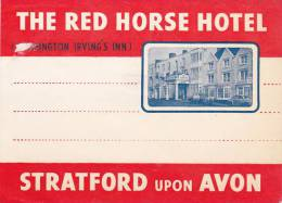 ENGLAND STRATFORD ON AVON RED HORSE HOTEL VINTAGE LUGGAGE LABEL