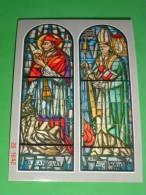 """S.CARLO BORROMEO / Card.A.ILDEFONSO SCHUSTER"""" Vetrate Presbitero-Santuario S.Rita D.Cascia In MILANO Barona-cartolina Nv - Santini"""