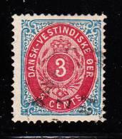 Danish West Indies Used Scott #6 3c Numeral - Danemark (Antilles)