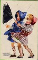 Carte Illustrée Enfants, Petites Filles, Vent, Pluie, Parapluie Qui Se Retourne, Capuche - Zeitgenössisch (ab 1950)