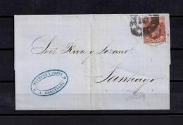 1863, BARCELONA - SANTIAGO, 4 CUARTOS, FECHADOR Y RC - 1850-68 Reino: Isabel II