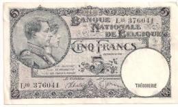 Belgium - 1938 - P108x - VF+ - 5 Francs