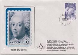 Freemasonry, Gustavus III, King Of Sweden, Grand Master Mason, Masonic Cover, Sweden - Franc-Maçonnerie