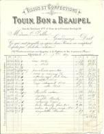 FACTURE -TISSUS ET CONFECTIONS - TOUIN BON ET BEAUPEL - RUE DU TAMBOUR ROUEN - - France