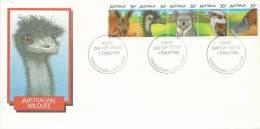 1986 Australian Wildlife Strip 5 FDI 13 Aug 1986 Toowoomba Qld 4350 Unaddressed Envelope - FDC