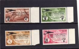 COLONIE ITALIANE TRIPOLITANIA 1934 AIR MAIL FLIGHT ROME - POSTA AEREA VOLO ROMA - BUENOS AIRES SERIE COMPLETA MNH - Tripolitania