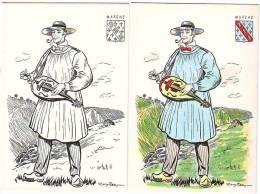 LOT DE 2 CARTES POSTALES - Comté De MARCHE L´actuel LIMOUSIN - Carte Folkloriques N° 59 - Peinte à La Main - Limousin