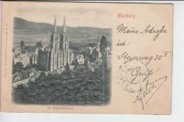 3550 MARBURG - Reliefkarte Universität, Ungeteilte Rückseite, 1900 - Marburg