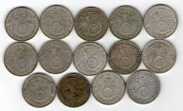 Alemania 3er Reich / Germany 3rd Reich ** 14x 2 Mark / Reichsmark Repetidas  ** KM# 93 - HK / Swastika / Cruz Gamada - 2 Reichsmark