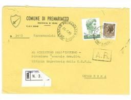 PREMARIACCO  33040  PROV. UDINE  - ANNO 1980  -  R   -  TEMA TOPIC COMUNI D´ITALIA - STORIA POSTALE - Affrancature Meccaniche Rosse (EMA)