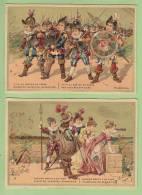 2 Chromos Dorées : Malbrough S'en Va En Guerre. 2 Scans. Format 7.5 X 11 - Autres