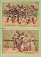 2 Chromos Dorées : Malbrough S'en Va En Guerre. 2 Scans. Format 7.5 X 11 - Trade Cards