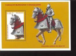 NICARAGUA  2186  MINT NEVER HINGED SOUVENIR SHEET OF HORSES - Paarden