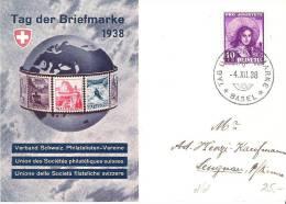 Schweiz Suisse 1938: Tag Der Briefmarke Auf Offizieller Karte Mit Stempel BASEL 4.XII.38 (Zu CHF 30.00) - Briefmarken Auf Briefmarken