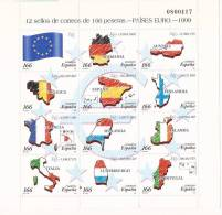 ESMP64-B051TCSC.España.Sp Ain.Espagne.Banderas.MINI PLIEGO  PAISES EURO.1999.(Ed. MP 63**) Sin Charnela.LUJO - Hojas Conmemorativas
